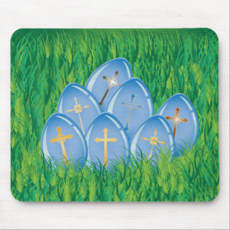 Decorated blue Easter eggs on grass Mouse Pad