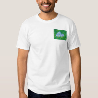 Decorated blue Easter eggs on grass T-shirt