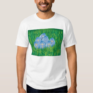 Decorated blue Easter eggs on grass T Shirt
