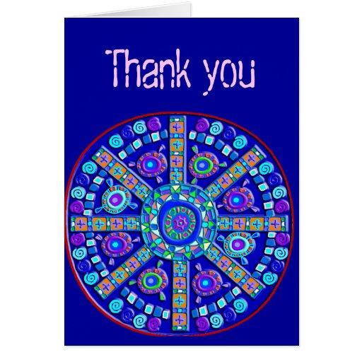 Decorated Blue Mandala Customizable Greeting Cards