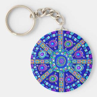 Decorated Blue Mandala Keychain
