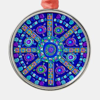 Decorated Blue Mandala Metal Ornament