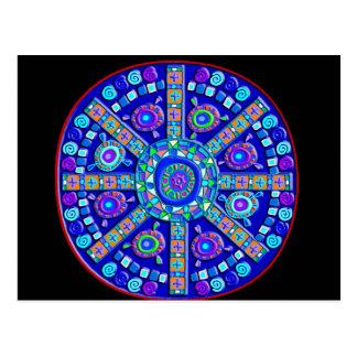 Decorated Blue Mandala Postcard