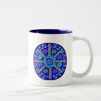 Decorated Blue Mandala Two-Tone Coffee Mug