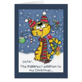 Decorated Cat-PURRfect Christmas for Sister Card