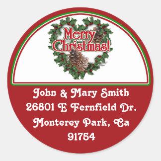 Decorated Christmas Address Label Classic Round Sticker