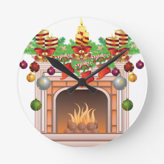 Decorated Christmas Fireplace Round Clock