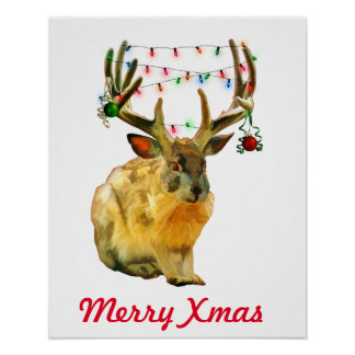 Decorated Christmas Jackalope Merry Xmas Poster