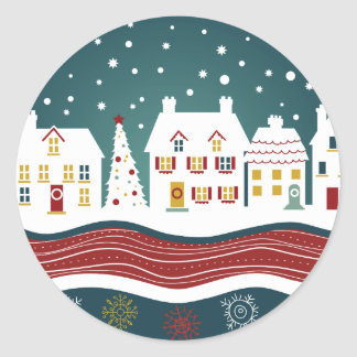 Decorated Christmas Town Classic Round Sticker