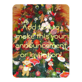 Decorated Christmas Tree 4.25x5.5 Paper Invitation Card
