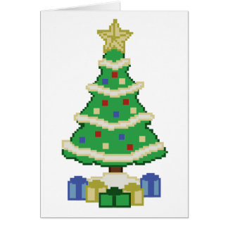 Decorated Christmas Tree 8bit Video Game Style Greeting Card