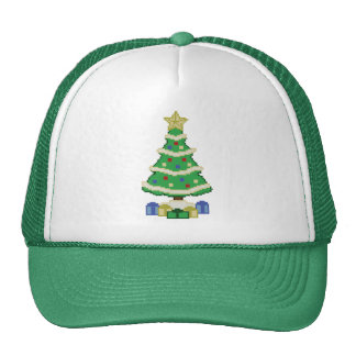 Decorated Christmas Tree 8bit Video Game Style Hat