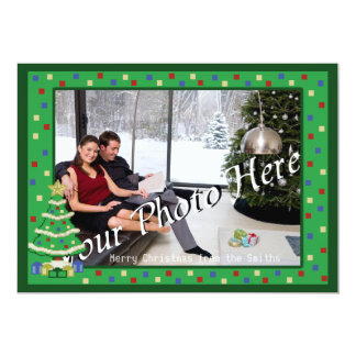 Decorated Christmas Tree 8bit Video Game Style 5x7 Paper Invitation Card