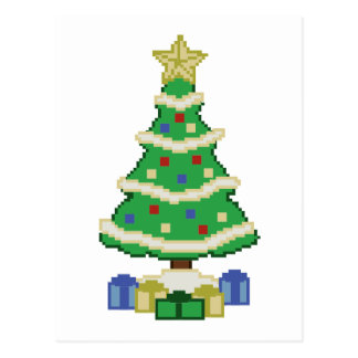 Decorated Christmas Tree 8bit Video Game Style Postcard