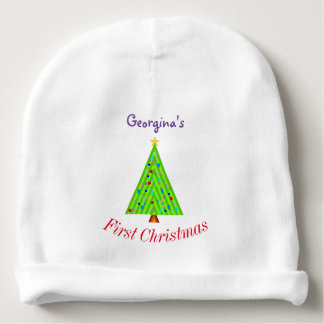 Decorated Christmas Tree + Baby's First Christmas Baby Beanie