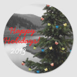 Decorated Christmas Tree by Mountain Lake Round Sticker