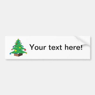 Decorated Christmas tree cartoon Bumper Sticker