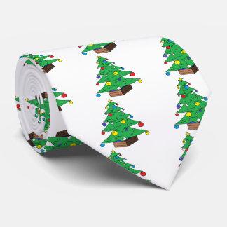 Decorated Christmas tree cartoon Tie