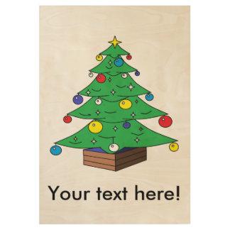 Decorated Christmas tree cartoon Wood Poster