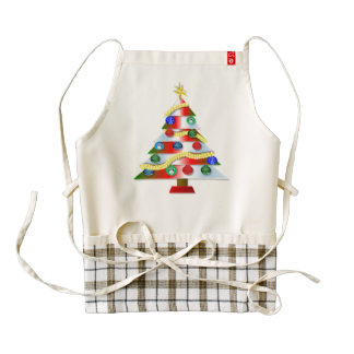 Decorated Christmas tree cartoon Zazzle HEART Apron