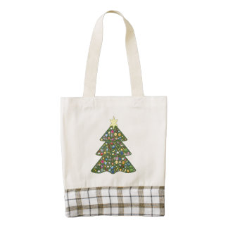 Decorated Christmas tree clipart Zazzle HEART Tote Bag
