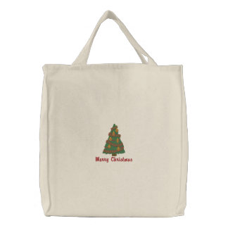 Decorated Christmas Tree Emrboidered Sweatshirt Canvas Bag