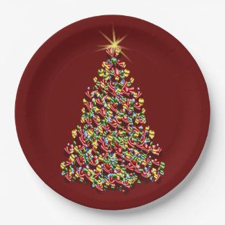 Decorated Christmas Tree Holiday Shining Star Top 9 Inch Paper Plate