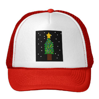 Decorated Christmas Tree in the Snow Hats