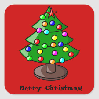 Decorated Christmas Tree on Red Sticker