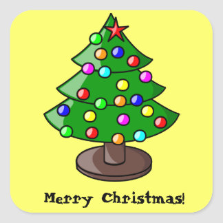 Decorated Christmas Tree on Yellow Sticker