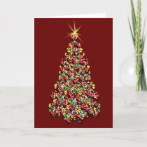 Decorated Christmas Tree Red Background Holidays Holiday Card