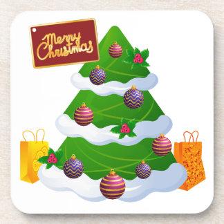 Decorated Christmas Tree Tag Shopping Bag Coasters