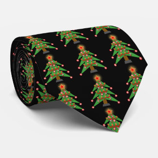 Decorated Christmas Trees On Any Color Holiday Tie