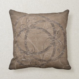 Decorated Circles Brown Throw Pillow