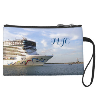 Decorated Cruise Ship Bow Monogrammed Suede Wristlet Wallet