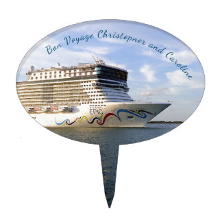 Decorated Cruise Ship Bow Personalized Cake Topper