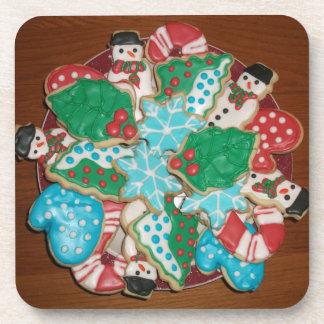 Decorated Cut-Out Christmas Sugar Cookies Beverage Coasters