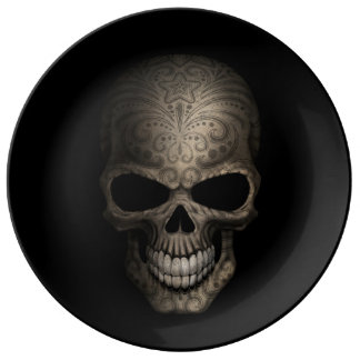 Decorated Dark Skull Porcelain Plate
