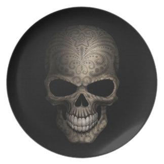 Decorated Dark Skull Plates