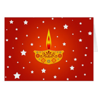 Decorated Diya (Lamp) - Card