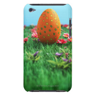 Decorated Easter egg amongst flowers on grass, Barely There iPod Cover