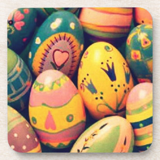 decorated Easter eggs Beverage Coaster