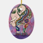 Decorated Elephant Christmas Ornament