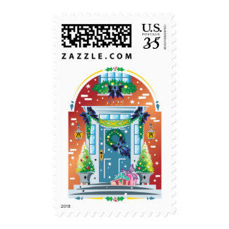 Decorated front of building postage