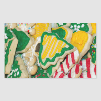 Decorated Frosted Homemade Christmas Sugar Cookies Rectangular Sticker