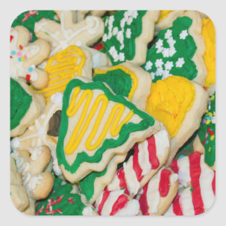 Decorated Frosted Homemade Christmas Sugar Cookies Square Sticker