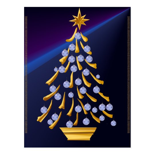 Decorated Gold Christmas Tree Postcard