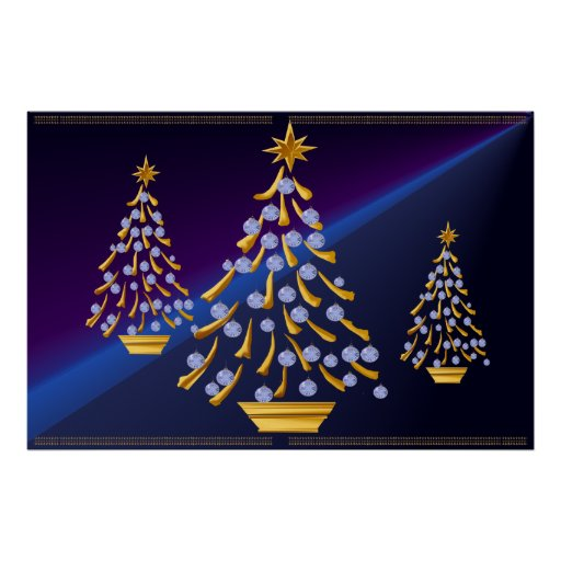 Decorated Gold Christmas Tree Print