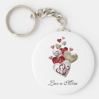 Decorated Hearts Basic Round Button Keychain