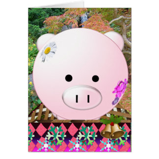 Decorated holiday pig pen card